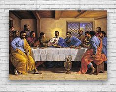 Last Supper, Jesus Christ, Messiah, Savior, Disciples, Apostles, Upper Room, African American Art, Print Poster by Artist Sarah Jenkins #fineart #fineartprints #artprints #art #artposters #fineartposters #vintageart #vintageartprints #vintageartposters #vintageprints #vintageposters #blackart #africanamericanart