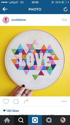 This is such an amazing idea! Love the negative space coupled with geometric shapes Geometric Embroidery, Hand Work Embroidery, Embroidery Hoop Art, Hand Embroidery Patterns, Cross Stitch Embroidery, Cross Stitch Patterns, Cross Stitching, Needlework, Sewing Projects