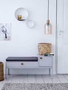 Welcome home! Phone bench with built-in storage designed by Bloomingville <3