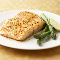 Salmon and Asparagus  This simple 235-calorie recipe is packed with great flavor, making it one of our most popular dinners. Salmon skin has a higher concentration of heart-healthy omega-3 fats, than the fish fillet, so you may choose to eat the skin as well
