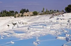 Pamukkale Park consists of a series of travertines and hot springs. The hot springs have beneficial health properties. To quote some includes helping high blood pressure, improving circulation and curing skin diseases. Pamukkale, Romantic Places, Beautiful Places, Places To Travel, Places To See, Travel Destinations, Agua Natural, Thermal Pool, Rock Pools
