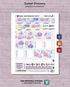 Free Printable Sweet Dreams Planner Stickers from Sepiida Prints