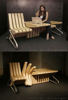 Multi-function gang chair with desktop