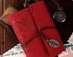 Refillable Handmade Leather Red Notebook. Great for write down recipes or just a gift you a loved one. $20.00 buy listed on Ebay.