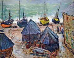 Bateaux sur la plage à Etretat - Claude Monet