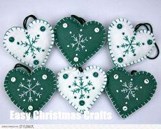 christmas crafts felt Fun And Easy Christmas Crafts To Make Christmas Crafts To Sell, Handmade Christmas Decorations, Felt Decorations, Felt Christmas Ornaments, Christmas Sewing, Holiday Crafts, Christmas Diy, Christmas Hearts, Diy Ornaments