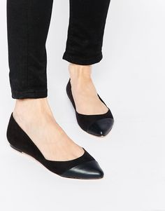 Shop Faith Aero Black Pointed Flat Shoes at ASOS.
