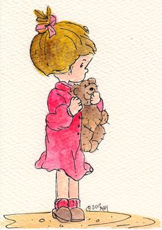 ORIGINAL CARD - Little girl w/bear