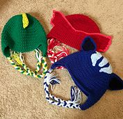 PJ Masks -Gecko, Catboy, and Owlette- inspired children's earflap hat pattern.