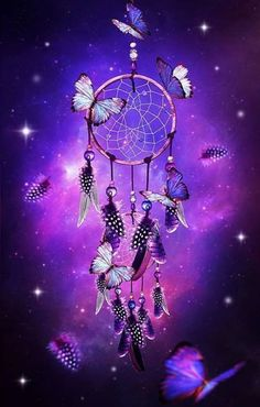 Butterflies & a dream catcher, all in purple.`