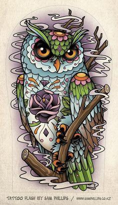 Owl tattoo flash