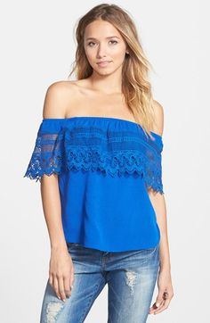 Socialite Crochet Off the Shoulder Top (Juniors) | Nordstrom
