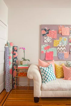 Caitlin Wilson Textiles, via Design Sponge. A peek in her studio. Beautiful fabrics, such a strong use of colour. Caitlin Wilson Design, Style Me Pretty Living, Blogger Home, Color Inspiration, Sofa Inspiration, Textile Design, Home And Living, Living Rooms, Office Decor