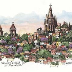 Mexico  - Repost from @jrsketchbook . . . . . . . . . A fresh one, sketched on location from the rooftop terrace of the Rosewood Hotel in San Miguel de Allende, Mexico. #sanmigueldeallende#jamesrichards #travel #jrsketchbook#jamesrichardssketchbook #craftsy#meaganburns #artleapadventures #travel#usk #urbansketchers #lamy#winsorandnewton #moleskine #asla#landscapearchitecturemagazine#travelsketch #instaart #esquire #tourism#mexico #onlocation #onthespot #pleinair#sketch #watercolor #carne...