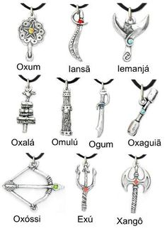 ferramentas-de-orixas-pingentes-ofa-espada-abeb-xaxara Yoruba Orishas, Yoruba Religion, How To Make Necklaces, Walk By Faith, Sacred Art, Gods And Goddesses, Finger Tattoos, African Art, Deities