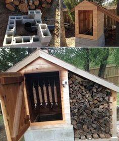 Smoke House!  Defumador super bem bolado! (http://www.smokingmeatforums.com/t/130460/cedar-smokehouse-construction)