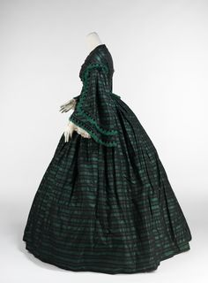 Walking dress Date: ca. 1865 Culture: American Medium: silk