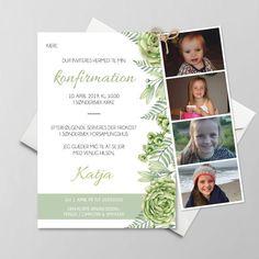 Konfirmationsinvitationer - Få designet din egen skabelon - Se her Go Green, Creative Business, Polaroid Film, Frame, Party, A5, Mockup, Pink, Design