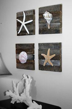 Beach Decor on Driftwood Panel for Coastal Decor. Silver Nautilus. $29.00, via