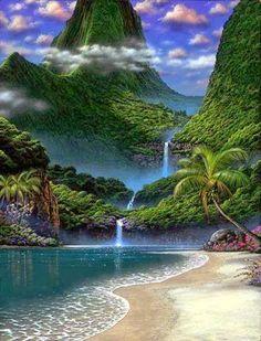 Beach waterfall, Australia