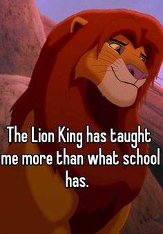 The Lion King has taught me more than what school has.