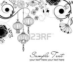 l gant fond floral avec des lanternes chinoises Banque d'images