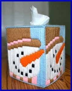 Everything Plastic Canvas - Snowman Long Stitch Tissue Box Cover