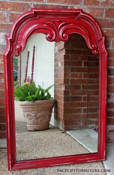 Ornate Mirror in distressed Barn Red with Black Glaze - From Facelift Furniture