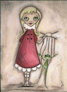 Items similar to Print of my original folk art painting - My Frog Puppet - Duda Daze on Etsy