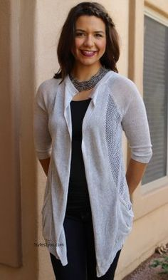 Barb Open Cardigan In Silver JOH Clothing JOH Apparel JOH Clothing Apparel Ladies Cardigan Womans dress shrug Ladies Dusters Joh Apparel Clothing Top] - business professional outfits on a budget Blazers For Women, Cardigans For Women, Blouses For Women, Curvy Outfits, Modern Outfits, Business Professional Outfits, Business Trendy, Lace Blazer, Shrug For Dresses