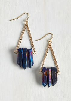 Mystical Moon Earrings. Capture the glorious midnight glow to wear whenever you wish by sporting these ModCloth-exclusive earrings. #blue #modcloth