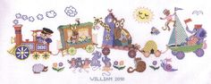 A brightly coloured nursery picture with lots of cartoon animals.