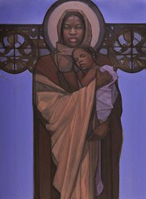 The Jesus Movement - Exhibition - Janet McKenzie Madonna Art, Madonna And Child, Religious Images, Religious Art, Jesus E Maria, Images Of Mary, Black Jesus, Queen Of Heaven, Black Love Art