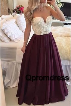 Beautiful burgundy chiffon prom dress with pearls on the top, homecoming dress 2016