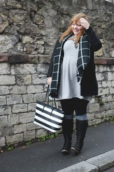 Plus Size Fashion for Women - kathastrophal - Plus Size Outfit in grey, black and white