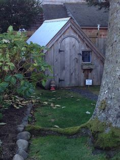 Really cute asymmetrical shed with rounded door in Cannon Beach