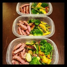 Meal prepping for my 12hr work days. Steak strips, broccoli, asparagus, Brussels sprouts and yellow peppers.