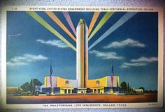 Postcard from the grand exposition in Fair Park, Dallas, Texas.  dontmindtheghosts:    Night view, United States Government Building, Texas Centennial Exposition, Dallas - 1936.    via PhotoToaster, using these settings.