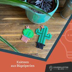 Diese Ideen mit Bügelperlen sind mit Kindern supereinfach nachzumachen. Einfach die Farben zusammensuchen und die Bilder nachbauen. Material und Informationen dazu findest du im Jugendleiter-Blog! Turquoise Bracelet, Blog, Material, Art, Cactus, Young Adults, Simple, Colors, Kids