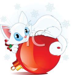 Royalty Free Clipart Image of a Cute White Cat Lying on a Christmas Ball