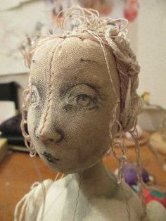 Calico cloth doll head