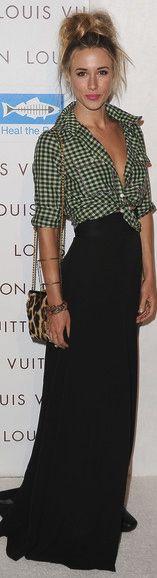 Black maxi skirt and flanel