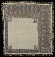 Square Turnover Shawl India c. 66 x 65 inches x cm) Philadelphia Museum of Art Wool Embroidery, Philadelphia Museum Of Art, Satin Stitch, Levi Strauss, Georgian, Regency, Shawls, Medieval, Paisley