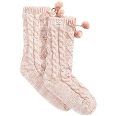 Ugg Pom Pom Fleece Slipper Socks (€40) ❤ liked on Polyvore featuring intimates, hosiery, socks, accessories, pearl, ugg socks, ugg, pom pom socks and fleece socks