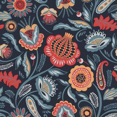 Folk floral seamless pattern modern abstract vector image on VectorStock Art And Illustration, Cat Illustrations, Scandi Art, Scandinavian Folk Art, Scandinavian Paintings, Scandinavian Pattern, Folk Art Flowers, Flower Art, Folk Print