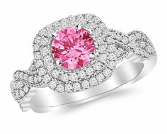 1.5 Carat Designer Twisting Square Cushion Halo Diamond Engagement Ring 14K White Gold with a 0.75 Carat Round Cut AAA Quality Pink Sapphire (Heirloom Quality) Houston Diamond District http://www.amazon.com/dp/B00JMM0OO4/ref=cm_sw_r_pi_dp_CsnMub1ZNEC6S