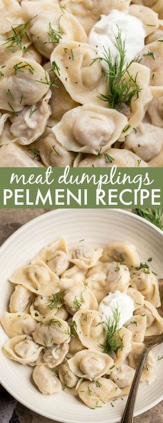 A step-by-step guide on how to make the classic Pelmeni Recipe. Thin dough rolled out and filled with a garlic chicken and pork filling then tossed in butter and served with sour cream. Comfort food a Ukrainian Recipes, Russian Recipes, Croatian Recipes, Hungarian Recipes, Russian Pelmeni Recipe, Russian Dumplings Recipe, Russian Dishes, Russian Foods, Bon Appetit