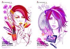 Another set of editorial/ advertisement illustrations for Rimmel London products. Created using pencils, ink and Photoshop.