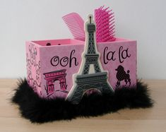 pink and black paris eiffel tower desk caddy by FUNctionalArt4Kids, $12.95