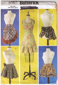 Misses-Vtg-Retro-Full-Half-Aprons-Back-Waist-Ties-Butterick-6567-Sewing-Pattern